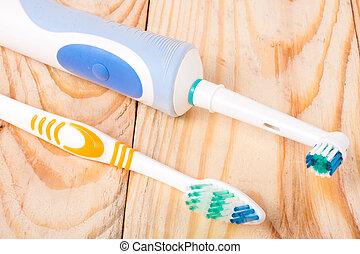 houten, toothbrushes, handleiding, elektrisch, achtergrond