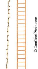 houten, touw ladder