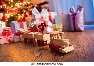 houten trein, met, kerstkado