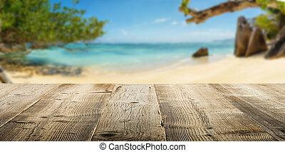 houten, tropische , achtergrond, strand, grondslagen, lege