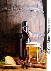 houten vat, met, bier, en, voedingsmiddelen