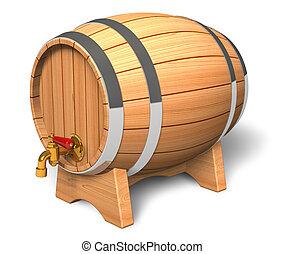 houten vat, met, klep