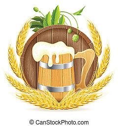 houten vat, mok, bier