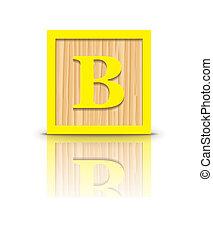 houten, vector, b, brief, blok