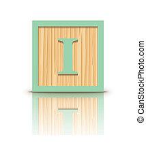 houten, vector, brief, blok