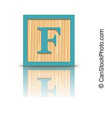 houten, vector, brief, blok, f