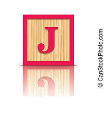 houten, vector, brief, blok, j