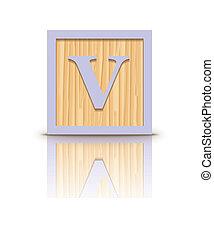 houten, vector, brief, blok, v