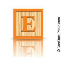 houten, vector, e, brief, blok