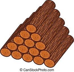 houten, vector, logboeken, illustratie, stapel