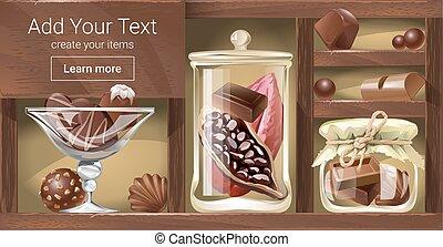 houten, vector, rek, illustratie, chocolade