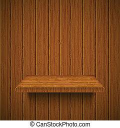 houten, vector, shelf., textuur, illustratie