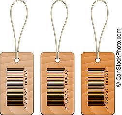 houten, vector, streepjescode, markeringen