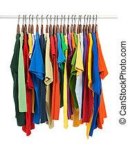 houten, veelkleurig, overhemden, hangers, variëteit