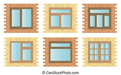 houten, vensters, set, buitenkant
