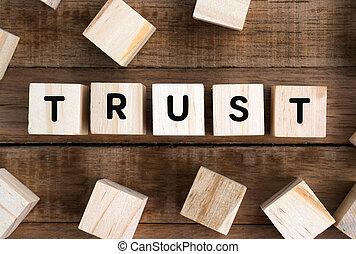 houten, vertrouwen, woord, blok