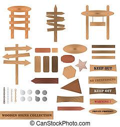 houten, verzameling, tekens & borden