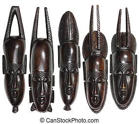 houten, vijf, maskers, afrikaan