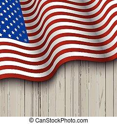 houten, vlag, amerikaan, achtergrond