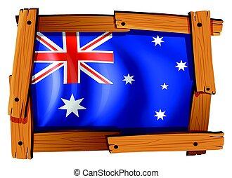 houten, vlag, australië, frame