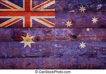 houten, vlag, australia.