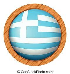 houten, vlag, badge, ronde, griekenland