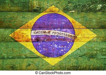 houten, vlag, brazil.