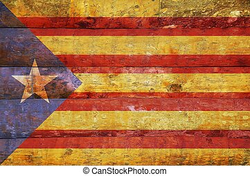 houten, vlag, catalonia.