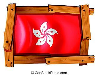 houten, vlag, frame, hong kong