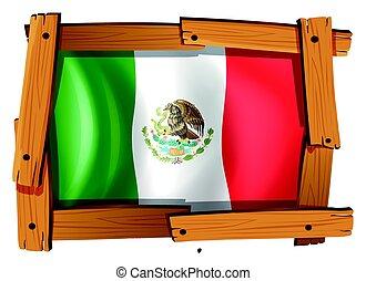 houten, vlag, frame, mexico