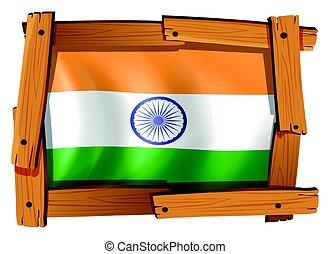 houten, vlag, india, frame