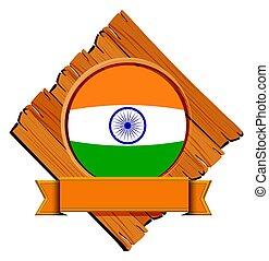 houten, vlag, india, plank