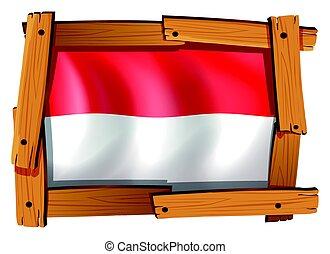 houten, vlag, indonesie, frame