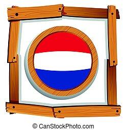 houten, vlag, nederland, frame