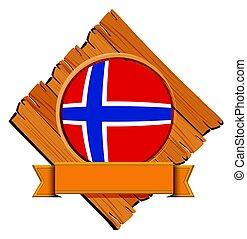 houten, vlag, noorwegen, plank