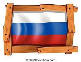 houten, vlag, rusland, frame