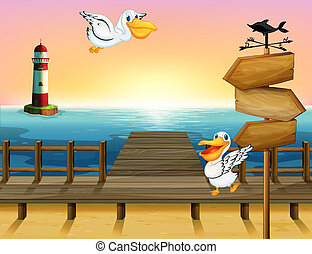 houten, vogels, twee, richtingwijzer, plank