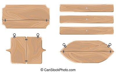 houten, waarschuwend, raad, verzameling, vrijstaand, op wit