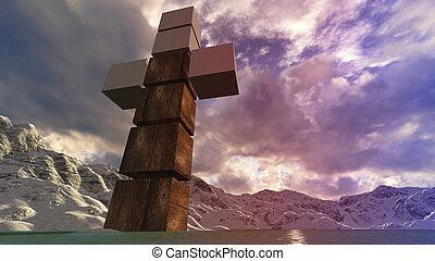 houten, water, kruis