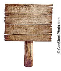 houten, wegaanduiding, board., oud, post, paneel, gemaakt, van, hout, vrijstaand, op, white.