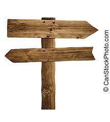houten, wegwijzer, meldingsbord, richtingwijzer, post, of, straat