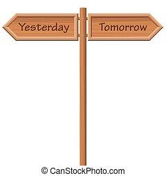 houten, wegwijzer, stijl, gisteren, morgen