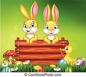 houten, weinig; niet zo(veel), konijntje, spotprent, meldingsbord