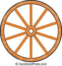 houten, wiel, vector, oud
