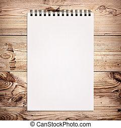 houten, witte , aantekenboekje, schilderij, achtergrond