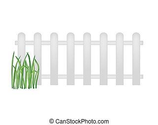 houten, witte , gras, groene, omheining