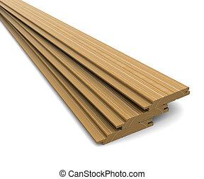 houten, witte , raad, achtergrond, drie