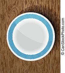 houten, witte , set, vaat
