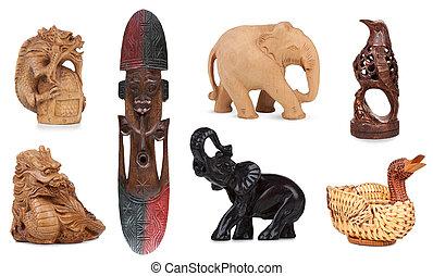 houten, witte , set, vrijstaand, souvenirs