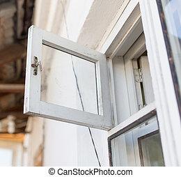 houten, witte , venster glaswaar